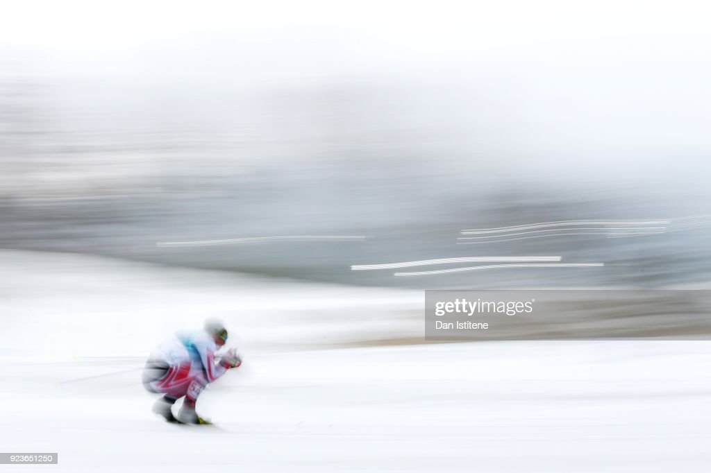Bernhard Tritscher of Austria competes during the Men's 50km Mass Start Classic on day 15 of the PyeongChang 2018 Winter Olympic Games at Alpensia Cross-Country Centre on February 24, 2018 in Pyeongchang-gun, South Korea.