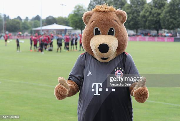Berni mascot of FC Bayern Muenchen presents the new away jersey during a training session at Saebener Strasse training ground on July 14 2016 in...