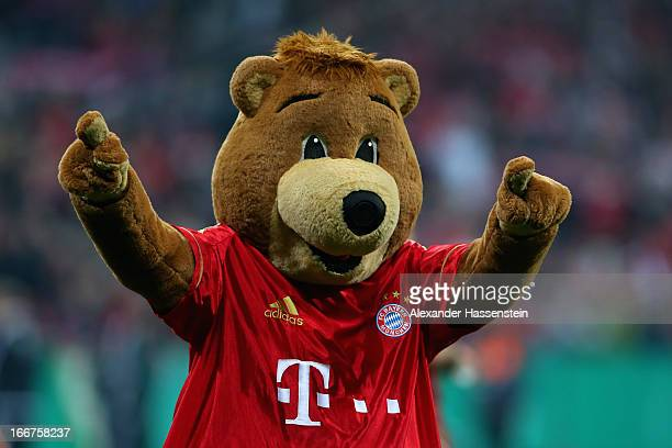 Berni mascot of Muenchen celebrates after the DFB Cup Semi Final match between Bayern Muenchen and VfL Wolfsburg at Allianz Arena on April 16 2013 in...