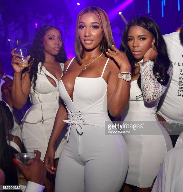 Bernice Burgos and Angel Love attend The All White Dusse Affair at Gold Room on May 12 2017 in Atlanta Georgia