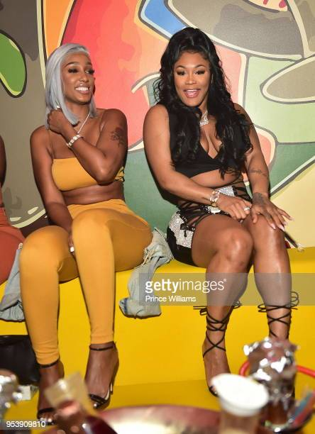 Bernice Burgos and Lira Galore attend a party at Living Room lounge on April 30 2018 in Atlanta Georgia