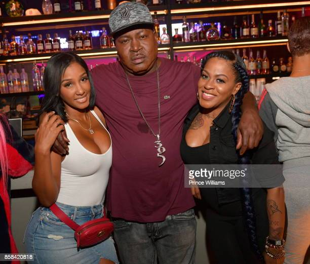 Bernice Burgos Trick Daddy and Lil Mo attend Baller Alert's Bowl With a Baller at Basement Bowl on October 5 2017 in Miami Florida