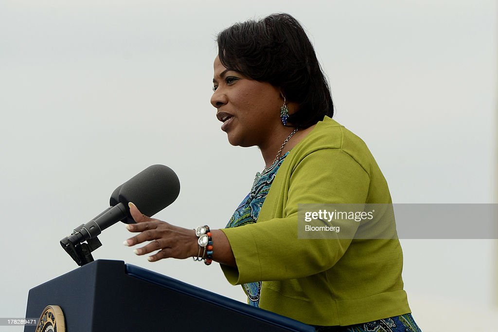 Bernice King, daughter of civil rights pioneer Martin Luther King Jr., speaks during the Let Freedom Ring commemoration event at the Lincoln Memorial in Washington, D.C., U.S., on Wednesday, Aug. 28, 2013. U.S. President Barack Obama, speaking from the same Washington stage where Martin Luther King Jr. delivered a defining speech of the civil rights movement, said that even as the nation has been transformed, work remains in countering growing economic disparities. Photographer: Michael Reynolds/Pool via Bloomberg