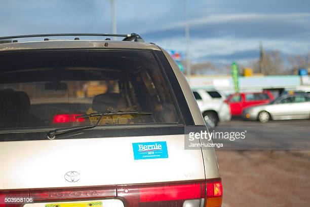 """bernie 2016"" sticker on car at intersection - bumper sticker stock photos and pictures"