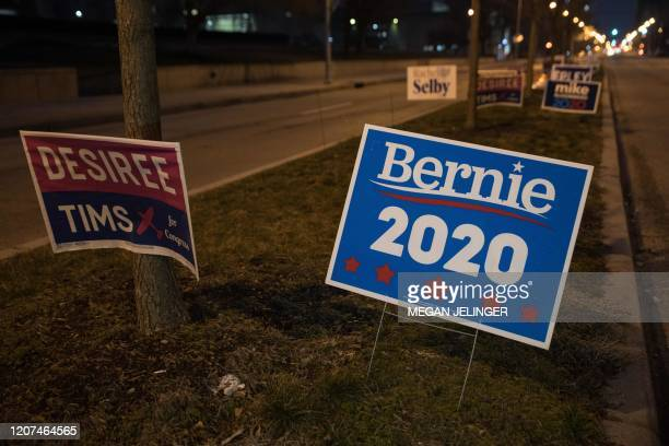 A Bernie 2020 sign stands outside of the Board of Election office on March 17 2020 in Dayton Ohio after the Ohio Primaries were cancelled Ohio health...