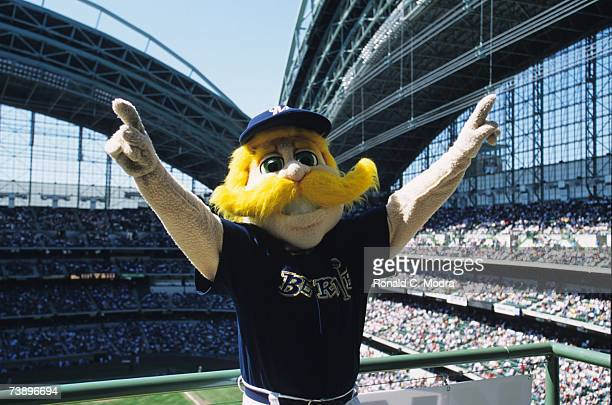 Bernie Brewer in the stands at Miller Park during a game between the Cincinnati Reds and the Milwaukee Brewers on April 8 2001 in Milwaukee Wisconsin