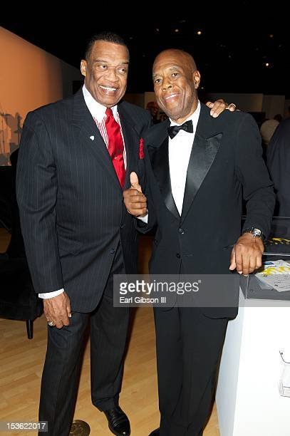 Bernie Casey and Howard Bingham pose for a photo at 'An Artful Evening At CAAM' at California African American Museum on October 6 2012 in Los...