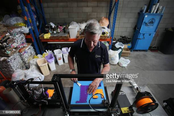 Bernie Craven, founder of Waste Free Systems and University of Technology Sydney research grant recipient assembles a 3D printed prosthetic arm on...