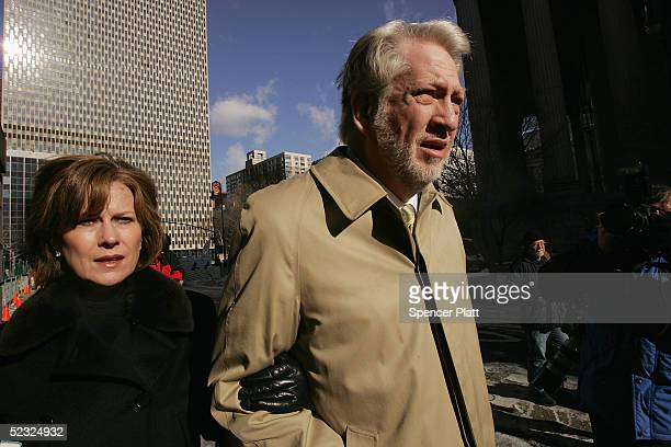 Bernie Ebbers former CEO of WorldCom enters Manhattan federal court with his wife Kristie March 9 2005 in New York City Ebbers is accused of...