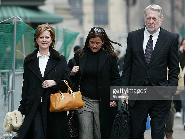 Bernie Ebbers former CEO of Worldcom Inc right arrives to federal court in New York accompanied by his wife Kristie left and one of his daughters...