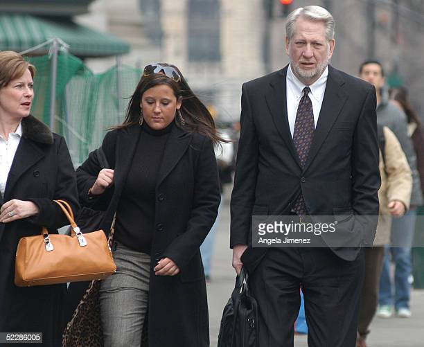 Bernie Ebbers the former chief executive officer of WorldCom arrives at federal court March 7 2005 in New York City with his wife Kristie and...