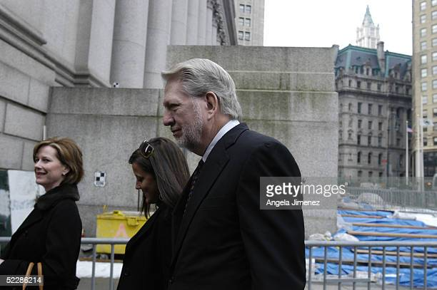 Bernie Ebbers the former chief executive officer of WorldCom arrives at federal court with his wife Kristie and daughter Carly March 7 2005 in New...