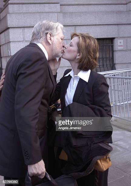 Bernie Ebbers the former chief executive officer of WorldCom kisses his wife Kristie as he leaves federal court March 7 2005 in New York City A jury...