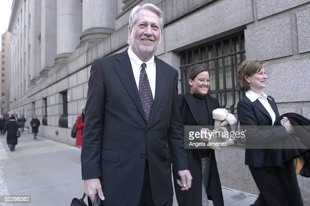 Bernie Ebbers the former chief executive officer of WorldCom leaves federal court with his daughter Carly and wife Kristie March 7 2005 in New York...
