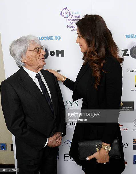 Bernie Ecclestone and Fabiana Ecclestone attend the Zoom F1 Charity auction in aid of Great Ormond Street Hospital Children's Charity at...