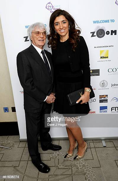 Bernie Ecclestone and Fabiana Ecclestone attends the Zoom F1 Charity auction in aid of Great Ormond Street Hospital Children's Charity at...