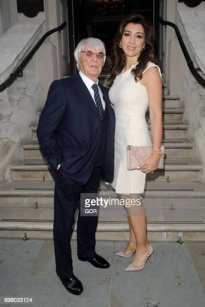 Bernie Ecclestone and Fabiana Flosi arriving at the Petra Stunt fundraiser at the Corinthia hotel on June 19 2017 in London England