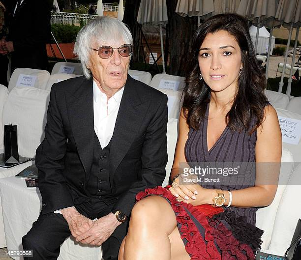 Bernie Ecclestone and Fabiana Flosi attend a cocktail reception during Amber Lounge Fashion Monaco 2012 at Le Meridien Beach Plaza Hotel on May 25...