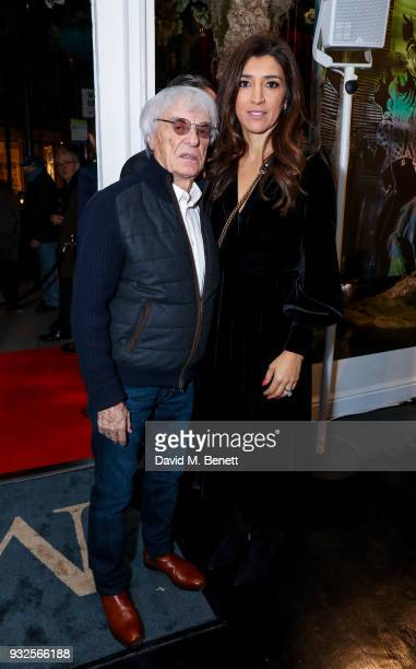 Bernie Ecclestone and Fabiana Flosi attend a private view of artist Dan Baldwin's exhibition A New Optimism at Maddox Gallery on March 15 2018 in...
