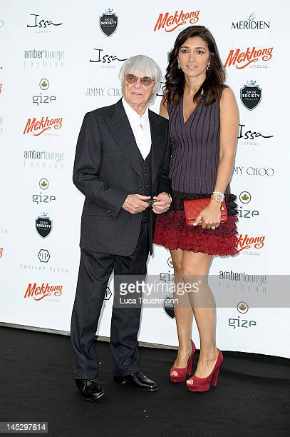 Bernie Ecclestone and Fabiana Flosi attend the Amber Fashion Show and Charity Auction at Le Meridien Beach Plaza Hotel on May 25 2012 in Monaco Monaco