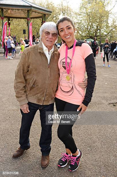 Bernie Ecclestone and Fabiana Flosi attend the Lady Garden 5K Fun Run in aid of Silent No More Gynaecological Cancer Fund in Battersea Park on April...