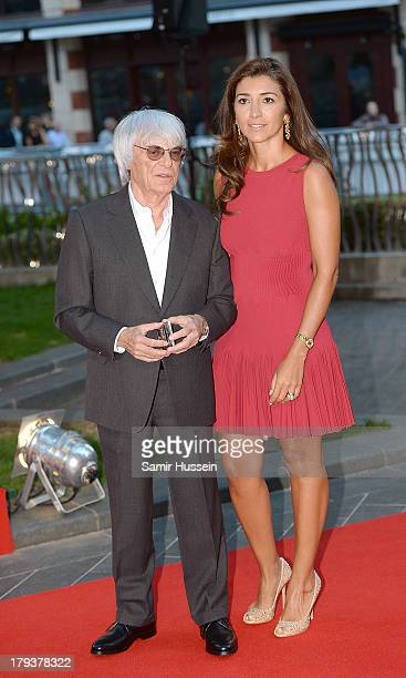 Bernie Ecclestone and Fabiana Flosi attend the Rush World Premiere at Odeon Leicester Square on September 2 2013 in London England