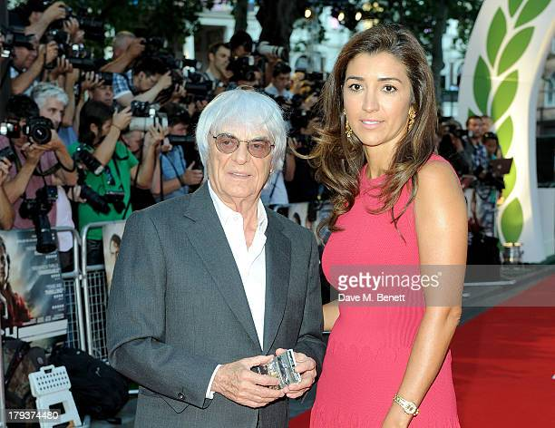Bernie Ecclestone and Fabiana Flosi attend the World Premiere of 'Rush' at Odeon Leicester Square on September 2 2013 in London England