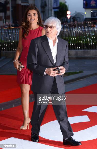 Bernie Ecclestone and Fabiana Flosi attend the World Premiere of Rush at the Odeon Leicester Square on September 2 2013 in London England