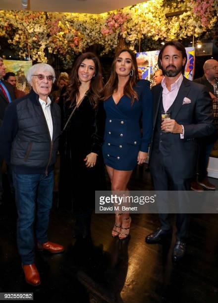 Bernie Ecclestone and Fabiana Flosi Tamara Ecclestone Rutland and Jay Rutland attend a private view of artist Dan Baldwin's exhibition A New Optimism...