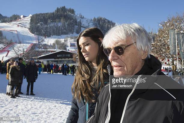 Bernie Ecclestone and his wife Fabiana Flosi are seen before the downhill race on January 21 2017 in Kitzbuehel Austria