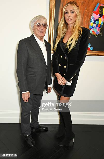 Bernie Ecclestone and Petra Ecclestone attend the Maddox Gallery launch exhibition on December 3 2015 in London England