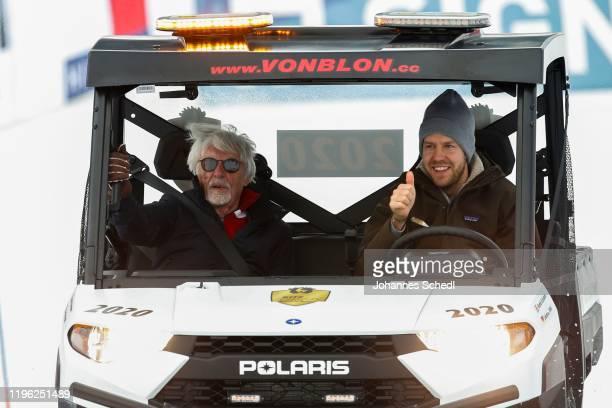 Bernie Ecclestone and Sebastian Vettel during the Audi FIS Alpine Ski World Cup Kitz Charity Trophy on January 25 2020 in Kitzbuehel Austria