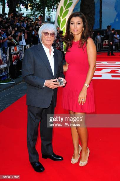 Bernie Ecclestone and wife Fabiana Flosi arriving for the premiere of Rush at the Odeon Leicester Square, London