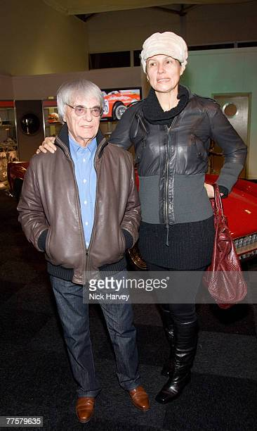 Bernie Ecclestone and wife Slavica Ecclestone attend the Launch of the Bernie Ecclestone car sale event at Battersea Park on October 30, 2007 in...