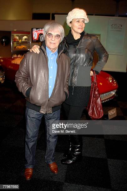 Bernie Ecclestone and wife Slavica Ecclestone attend the launch party of Automobiles Of London at Battersea Park on October 30 2007 in London England