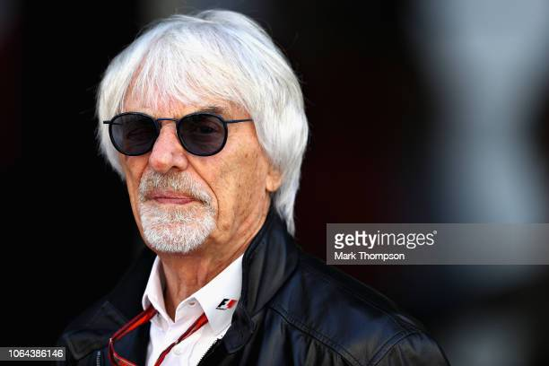 Bernie Ecclestone Chairman Emeritus of the Formula One Group looks on during practice for the Abu Dhabi Formula One Grand Prix at Yas Marina Circuit...