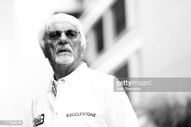 Bernie Ecclestone Chairman Emeritus of the Formula One Group looks on in the Paddock before final practice for the F1 Grand Prix of Russia at Sochi...