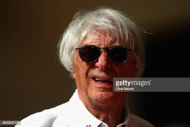 Bernie Ecclestone Chairman Emeritus of the Formula One Group looks on in the Paddock before the Bahrain Formula One Grand Prix at Bahrain...