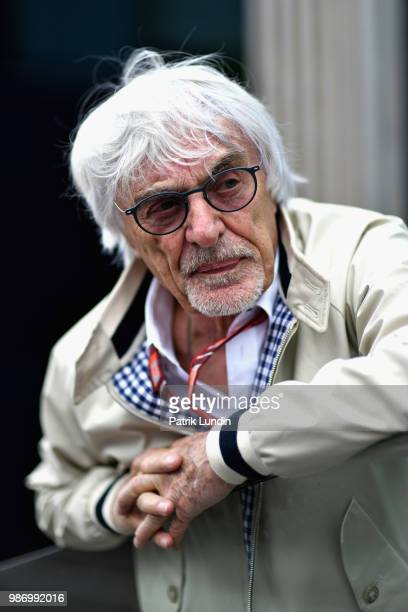 Bernie Ecclestone Chairman Emeritus of the Formula One Group looks on in the Paddock during practice for the Formula One Grand Prix of Austria at Red...