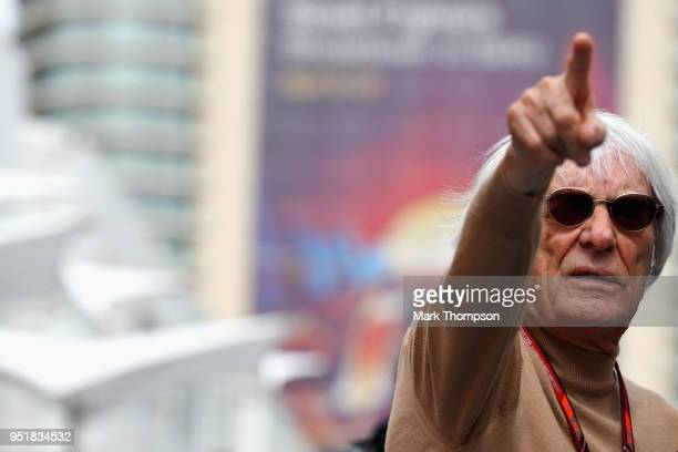 Bernie Ecclestone, Chairman Emeritus of the Formula One Group, points in the Paddock during practice for the Azerbaijan Formula One Grand Prix at...