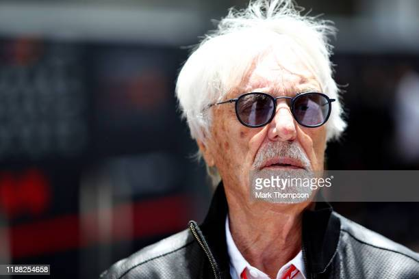 Bernie Ecclestone Chairman Emeritus of the Formula One Group talks in the Paddock before the F1 Grand Prix of Brazil at Autodromo Jose Carlos Pace on...
