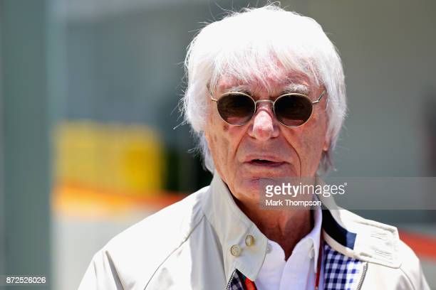 Bernie Ecclestone Chairman Emeritus of the Formula One Group talks in the Paddock during practice for the Formula One Grand Prix of Brazil at...