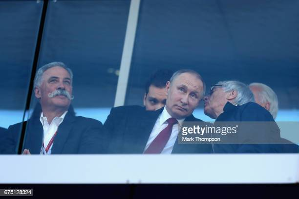 Bernie Ecclestone, Chairman Emeritus of the Formula One Group talks with Chase Carey, CEO and Executive Chairman of the Formula One Group and...