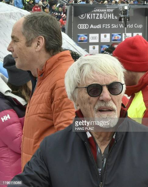 Bernie Ecclestone former chief executive of F1 arrives to attend the men's downhill event at the FIS Alpine Ski World Cup in Kitzbuehel Austria on...