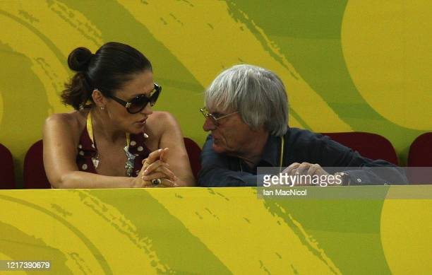 Bernie Ecclestone looks on during the track cycling event at the Laoshan Velodrome on Day 11 of the Beijing 2008 Olympic Games on August 19 2008 in...