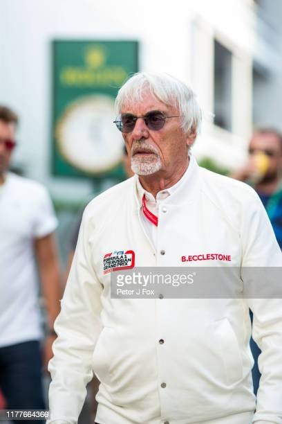 Bernie Ecclestone of Great Britain during qualifying for the F1 Grand Prix of Russia at Sochi Autodrom on September 28 2019 in Sochi Russia