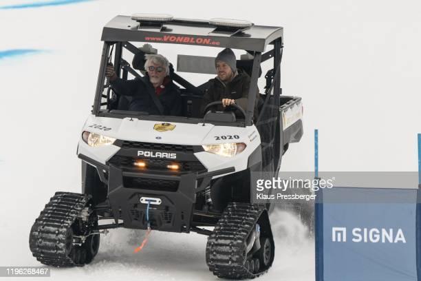 Bernie Ecclestone of United Kingdom and Sebastian Vettel of Germany during the Audi FIS Alpine Ski World Cup Men's Downhill Kitz Charity Trophy on...