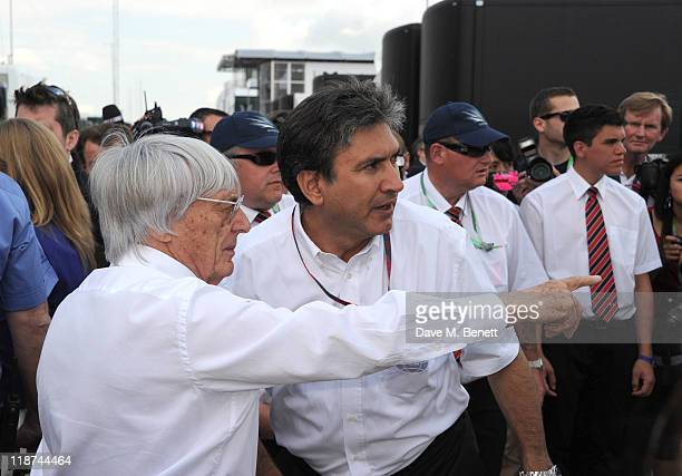 Bernie Ecclestone on the grid at the British Formula One Grand Prix at the Silverstone Circuit on July 10 2011 in Northampton England