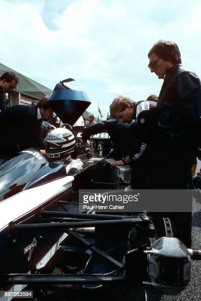 Bernie Ecclestone Ricardo Patrese BrabhamBMW BT55 Grand Prix of Belgium Circuit de SpaFrancorchamps 25 May 1986 Bernie Ecclestone owner of the...