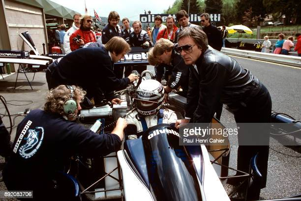 Bernie Ecclestone Ricardo Patrese BrabhamBMW BT55 Grand Prix of Belgium Circuit de SpaFrancorchamps 25 May 1986 Bernie Ecclestone owner of the...